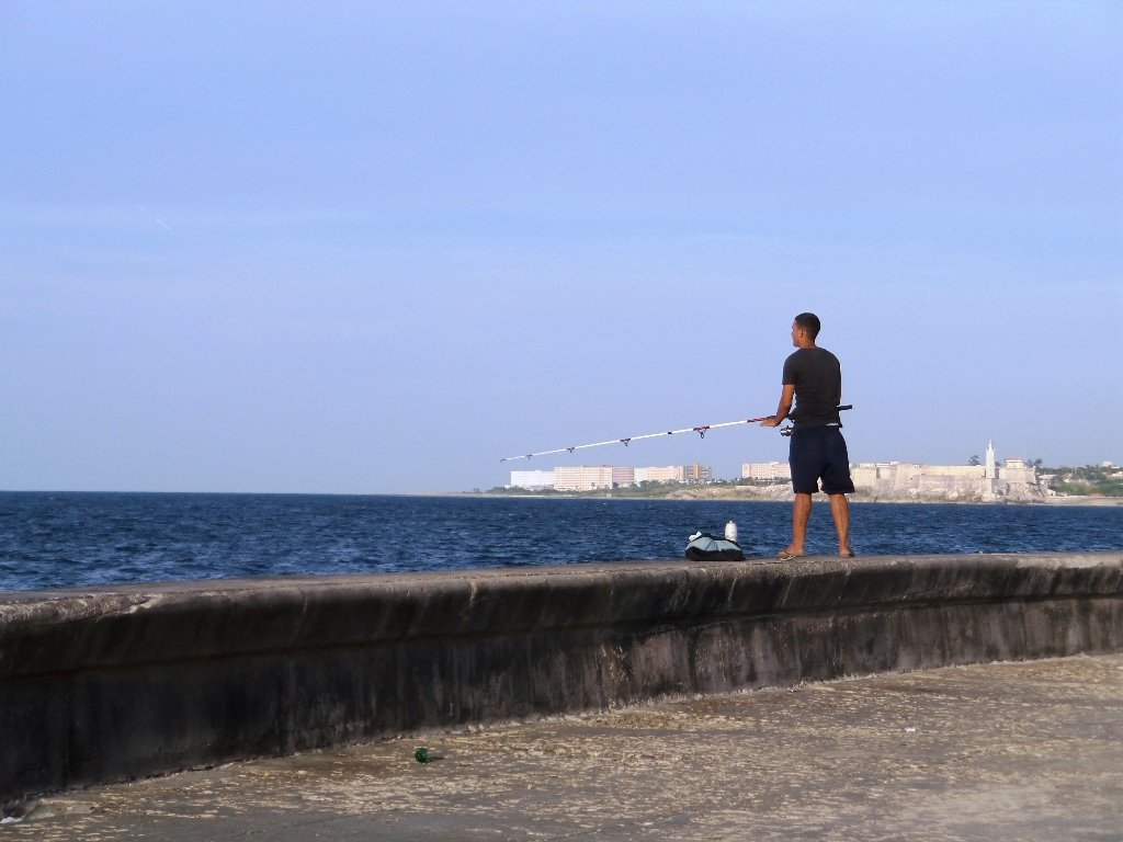 A fisherman on the Malecon